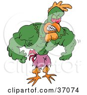 Clipart Illustration Of A Strong Green Rooster Super Hero Or Body Builder