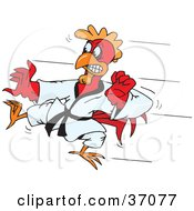 Clipart Illustration Of A Red Karate Rooster Kicking During A Fight