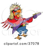 Clipart Illustration Of A Hip Red Rooster Playing An Electric Guitar At A Rock N Roll Concert by Dennis Holmes Designs