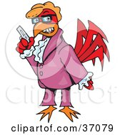 Clipart Illustration Of A Red Rooster Disguised As A Shag Agent by Dennis Holmes Designs
