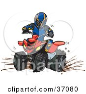 Clipart Illustration Of A Man In Safety Gear Riding A Red Quad Through Mud