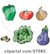 Green Bell Pepper Tomato Yellow Onion Stuffed Green Olives Lettuce And A Purple Eggplant