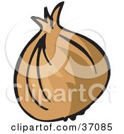 Clipart Illustration Of A Fresh And Organic Yellow Onion With The Outer Layers Attached