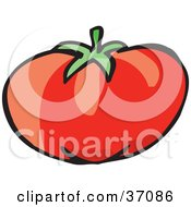 Clipart Illustration Of A Plump Red And Juicy Organic Tomato by Dennis Holmes Designs