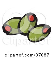 Clipart Illustration Of Three Pimento Stuffed Green Olives