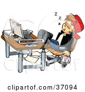 Clipart Illustration Of A Tired Young Man With A Cup Of Coffee Sleeping At His Office Desk With His Feet Up by Dennis Holmes Designs