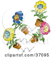 Group Of Happy Blue Yellow And Pink Spring Flowers Bouncing Around