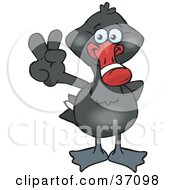 Clipart Illustration Of A Peaceful Black Swan Smiling And Gesturing The Peace Sign by Dennis Holmes Designs