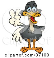 Clipart Illustration Of A Peaceful Ostrich Smiling And Gesturing The Peace Sign