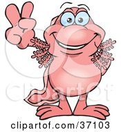 Clipart Illustration Of A Peaceful Pink Walking Fish Smiling And Gesturing The Peace Sign