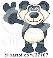 Clipart Illustration Of A Peaceful Panda Bear Smiling And Gesturing The Peace Sign