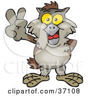 Clipart Illustration Of A Peaceful Brown Owl Smiling And Gesturing The Peace Sign