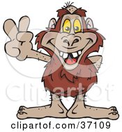 Clipart Illustration Of A Peaceful Yowie Smiling And Gesturing The Peace Sign