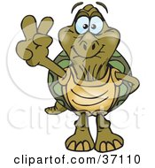 Clipart Illustration Of A Peaceful Old Tortoise Smiling And Gesturing The Peace Sign by Dennis Holmes Designs