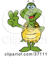 Clipart Illustration Of A Peaceful Green Turtle Smiling And Gesturing The Peace Sign by Dennis Holmes Designs