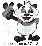 Peaceful Giant Panda Smiling And Gesturing The Peace Sign