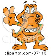 Clipart Illustration Of A Peaceful T Rex Smiling And Gesturing The Peace Sign by Dennis Holmes Designs