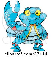 Clipart Illustration Of A Peaceful Yabby Smiling And Gesturing The Peace Sign by Dennis Holmes Designs