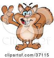 Clipart Illustration Of A Peaceful Squirrel Smiling And Gesturing The Peace Sign