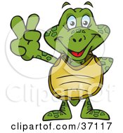 Clipart Illustration Of A Peaceful Turtle Smiling And Gesturing The Peace Sign by Dennis Holmes Designs