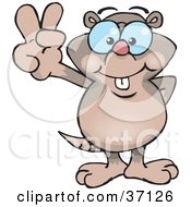 Clipart Illustration Of A Peaceful Mole Smiling And Gesturing The Peace Sign