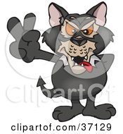 Clipart Illustration Of A Peaceful Tasmanian Devil Smiling And Gesturing The Peace Sign