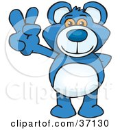 Clipart Illustration Of A Peaceful Blue Teddy Bear Smiling And Gesturing The Peace Sign