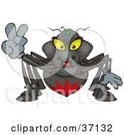 Clipart Illustration Of A Peaceful Black Widow Smiling And Gesturing The Peace Sign