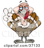 Clipart Illustration Of A Peaceful Turkey Bird Smiling And Gesturing The Peace Sign by Dennis Holmes Designs