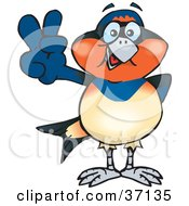 Clipart Illustration Of A Peaceful Swallow Smiling And Gesturing The Peace Sign by Dennis Holmes Designs