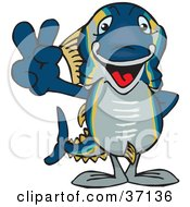 Clipart Illustration Of A Peaceful Tuna Smiling And Gesturing The Peace Sign by Dennis Holmes Designs
