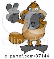 Clipart Illustration Of A Peaceful Platypus Smiling And Gesturing The Peace Sign