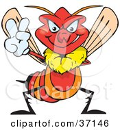 Peaceful Red Wasp Smiling And Gesturing The Peace Sign