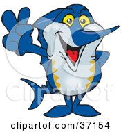 Clipart Illustration Of A Peaceful Marlin Smiling And Gesturing The Peace Sign
