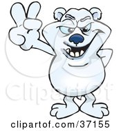 Peaceful Polar Bear Smiling And Gesturing The Peace Sign
