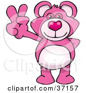 Clipart Illustration Of A Peaceful Pink Teddy Bear Smiling And Gesturing The Peace Sign