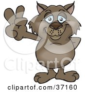 Clipart Illustration Of A Peaceful Wombat Smiling And Gesturing The Peace Sign by Dennis Holmes Designs