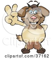 Clipart Illustration Of A Peaceful Nanny Goat Smiling And Gesturing The Peace Sign