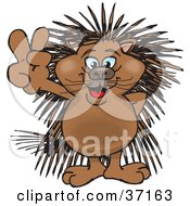 Clipart Illustration Of A Peaceful Porcupine Smiling And Gesturing The Peace Sign