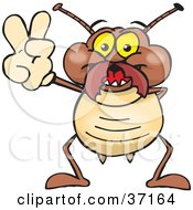 Clipart Illustration Of A Peaceful Termite Smiling And Gesturing The Peace Sign