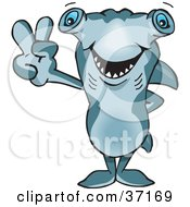 Clipart Illustration Of A Peaceful Hammerhead Shark Smiling And Gesturing The Peace Sign by Dennis Holmes Designs