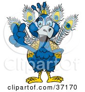 Clipart Illustration Of A Peaceful Blue Peacock Smiling And Gesturing The Peace Sign