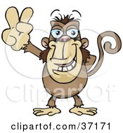 Clipart Illustration Of A Peaceful Monkey Smiling And Gesturing The Peace Sign