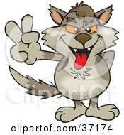 Clipart Illustration Of A Peaceful Wolf Smiling And Gesturing The Peace Sign