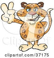 Clipart Illustration Of A Peaceful Leopard Smiling And Gesturing The Peace Sign by Dennis Holmes Designs