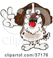 Clipart Illustration Of A Peaceful Spaniel Smiling And Gesturing The Peace Sign by Dennis Holmes Designs