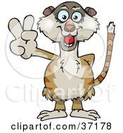 Clipart Illustration Of A Peaceful Meerkat Smiling And Gesturing The Peace Sign