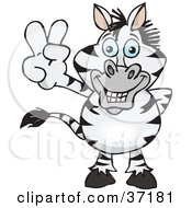 Peaceful Zebra Smiling And Gesturing The Peace Sign