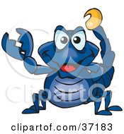 Clipart Illustration Of A Peaceful Blue Scorpion Smiling And Gesturing The Peace Sign