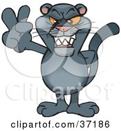 Clipart Illustration Of A Peaceful Panther Smiling And Gesturing The Peace Sign